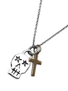 BELIEVEINMIRACLE(ビリーブインミラクル)クロス&スカル ネックレス (IT'S12 MIDNIGHT 限定) / ペンダントトップ チャーム ロングオーバルチェーン アンティークゴールド ブラス 真鍮 銀 十字架 髑髏