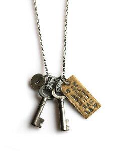 BELIEVEINMIRACLE(ビリーブインミラクル)Antique Key NC Double アンティーク キーネックレス ダブル / ペンダント トップ チャーム カギ 鍵 アラベスク ゴールド スターリングシルバー オーバル チェ