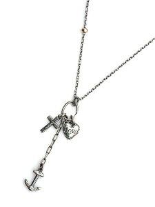 BELIEVEINMIRACLE(ビリーブインミラクル)ANCHOR CROSS HEART NC アンカークロスハートネックレス / ペンダント トップ チャーム ゴールドビーズ スターリングシルバー ラリエット 錨 イカリ 十字架