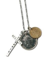 【※ポイント5倍※】BELIEVEINMIRACLE(ビリーブインミラクル)【2 COIN CROSS 2コインクロスネックレス】[正規品](ペンダント/スターリングシルバー/アンティークゴールド/フィガロチェーン/十字架/金/銀/硬貨/925/プレゼント/ユニセックス/メンズ/レディース)