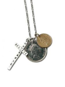 【※ポイント5倍※】BELIEVEINMIRACLE(ビリーブインミラクル)【2 COIN CROSS 2コインクロスネックレス】[正規品](ペンダント/スターリングシルバー/アンティークゴールド/フィガロチェーン/十字