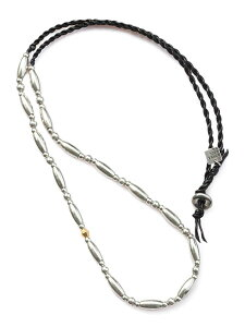 ON THE SUNNY SIDE OF THE STREET(オン ザ サニー サイド オブ ザ ストリート)【Metal × Leather Long Necklace (Black) メタル×レザーロングネックレス (ブラック)】[正規品](ラップブレスレット/2WAY/シルバー/