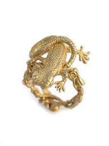 【※ポイント5倍※】HOASHI YUSUKE(ホアシユウスケ)【「ぼんやりとした白」双頭のトカゲリング(ゴールド) 】[正規品](指輪/アニマル/動物/薔薇/バラ/ローズ/花/フラワー/爬虫類/ブラス/真鍮/