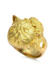 HOASHI YUSUKE(ホアシユウスケ)【JOY 頭から花が咲いたエキゾチックショートヘア リング (Brass)】[正規品](指輪/猫/キャット/動物/アニマル/フラワー/アンティークゴールド/ブラス/紫陽花/アジ