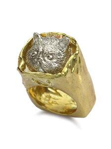 【※ポイント5倍※】HOASHI YUSUKE(ホアシユウスケ)【ダダ 紙袋に入った猫のリング (ゴールド × シルバー)】[正規品](指輪/ネコ/キャット/スクエア/四角/金/銀/真鍮/925/ギフト/プレゼント/レ