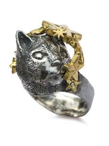 【※ポイント5倍※】HOASHI YUSUKE(ホアシユウスケ)【星を見上げるネコリング (横)】[正規品](指輪/猫/キャット/動物/アニマル/スター/アンティークゴールド/ブラック/ブラス/シルバー/銀/真