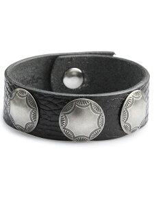 【※ポイント5倍※】Button Works(ボタンワークス)【Button Works Original 3 Concho Ribbon Bracelet 3 / オリジナルコンチョ リボンブレスレット】[正規品](シルバー/ブラック/革/銀/黒/腕輪/プレゼント/