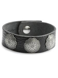 【※ポイント5倍※】Button Works(ボタンワークス)【Button Works Original 3 Concho Ribbon Bracelet 1 / オリジナルコンチョ リボンブレスレット】[正規品](シルバー/ブラック/フラワー/花/革/銀/黒/腕輪/