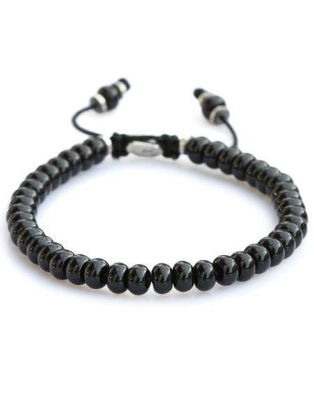 M.Cohen(エム・コーエン)【stacked black agate bead bracelet スタックド ブラックアゲート ビーズブレスレット [B-102403-SLV-BLK]】[正規品](腕輪/調節可能/パワーストーン/宝石/天然石/925/プレゼント/ギフト/ユニセックス/メンズ/レディース)【送料無料】