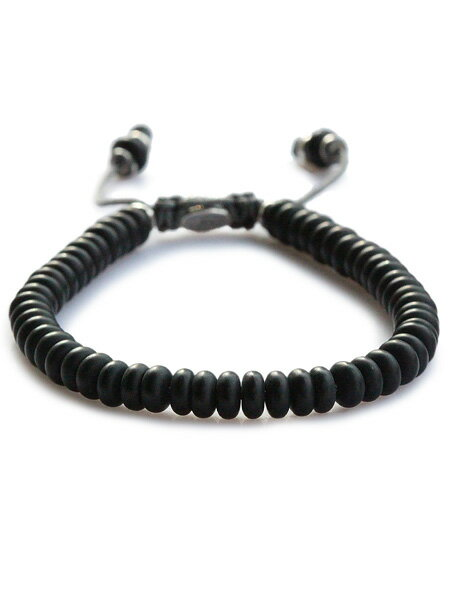 M.Cohen(エム・コーエン)【stacked frosted agate bead bracelet スタックド フロステッドアゲート ビーズブレスレット [B-102403-SLV-FBL]】[正規品](腕輪/調節可能/パワーストーン/宝石/天然石/黒/925/プレゼント/ギフト/ユニセックス/メンズ/レディース)【送料無料】