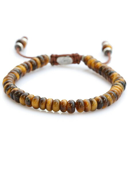 M.Cohen(エム・コーエン)【stacked tiger eye bead bracelet スタックド タイガーアイ ビーズブレスレット [B-102403-SLV-TIG]】[正規品](腕輪/調節可能/パワーストーン/宝石/天然石/虎/925/プレゼント/ギフト/ユニセックス/メンズ/レディース)【送料無料】