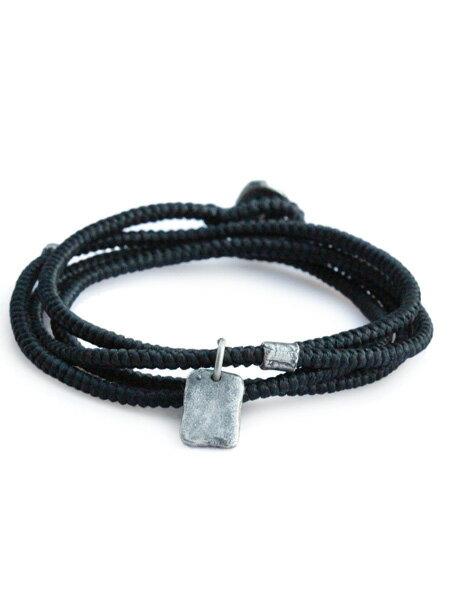 M.Cohen(エム・コーエン)【twisted cord with etched sterling crest pendants (ブラック) [B-103712-SLV-BLK] ツイステッドコードウィズエッチドスターリングクレストペンダント】[正規品](ブレスレット/ネックレス/ユニセックス/メンズ/レディース)【送料無料】