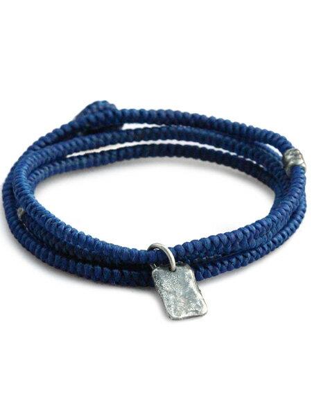 M.Cohen(エム・コーエン)【twisted cord with etched sterling crest pendants (ブルー) [B-103712-SLV-BLU] ツイステッドコードウィズエッチドスターリングクレストペンダント】[正規品](ブレスレット/ネックレス/ユニセックス/メンズ/レディース)【送料無料】