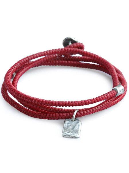 M.Cohen(エム・コーエン)【twisted cord with etched sterling crest pendants (レッド) [B-103712-SLV-RED] ツイステッドコードウィズエッチドスターリングクレストペンダント】[正規品](ブレスレット/ネックレス/ユニセックス/メンズ/レディース)【送料無料】