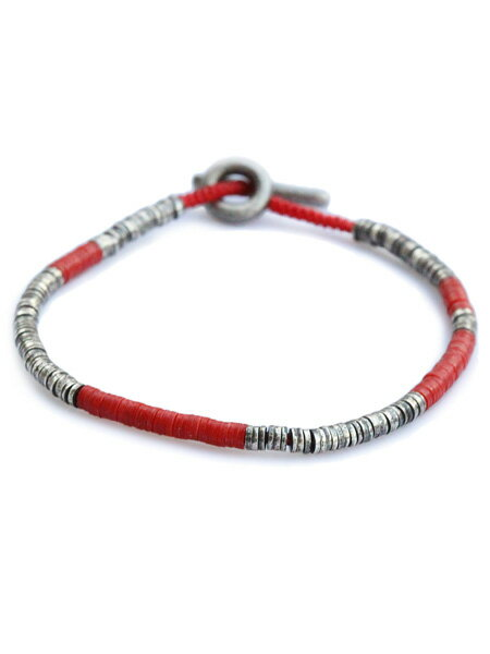 M.Cohen(エム・コーエン)【sterling silver with red beads スターリングシルバー ウィズ レッドビーズ [B-103732-SLV-RED]】[正規品](ブレスレット/腕輪/水色/925/プレゼント/ギフト/ユニセックス/メンズ/レディース)【送料無料】