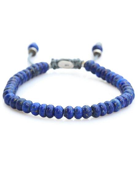 M.Cohen(エム・コーエン)【stacked blue lapis bead bracelet スタックド ブルー ラピス ビーズブレスレット [B-102403-SLV-LAP]】[正規品](腕輪/調節可能/ラピスラズリ/パワーストーン/宝石/天然石/925/プレゼント/ギフト/ユニセックス/メンズ/レディース)【送料無料】