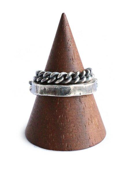 M.Cohen(エム・コーエン)【2-layer carved small cuff link ring [R-102314-SLV-SML] 2レイヤー カーブドスモールカフリンクリング】[正規品](指輪/アンティークシルバー/チェーン/ヴィンテージ/銀/925/ギフト/プレゼント/ユニセックス/メンズ/レディース)