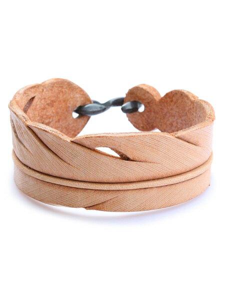 ROOSTERKING & CO.(ルースターキング&カンパニー)S-hook Carved Leather Feather Bangle (Natural) / カーブド レザーフェザーバングル ナチュラル ベージュ ブレスレット カフ ネイティブ インディアン ゴールド ヌメ革 金 メンズ レディース【送料無料】