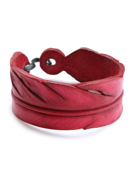 ROOSTERKING & CO.(ルースターキング&カンパニー)S-hook Carved Leather Feather Bangle (Red) / カーブド レザーフェザーバングル レッド ブレスレット カフ ネイティブ インディアン ゴールド ヌメ革 金 赤 メンズ レディース【送料無料】