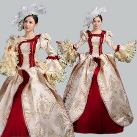 【サイズ有S/M/L/XL/2XL/3XL】貴族 ドレス ステージ衣装 舞台衣装 オペラ声楽 中世貴族風 お姫様ドレス 貴族ドレス クリスマス パーティー 中世ファスナータイプ 貴族 衣装 演奏会用ロングドレス 大きいサイズ 貴族 ワンピース 刺繍 プリンセスライン フリル 長袖