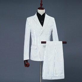 【サイズ有S/M/L/XL/2XL】長袖 ビジネススーツ ストライプ ダブルブレスト リクルート ジャケット スーツ フォーマル スーツ 男性用 卒業式スーツ 面接 入学式 花婿スーツ メンズスリムスーツ 2点セット 大きいサイズ ホワイトdi141f3f3zk/代引き不可