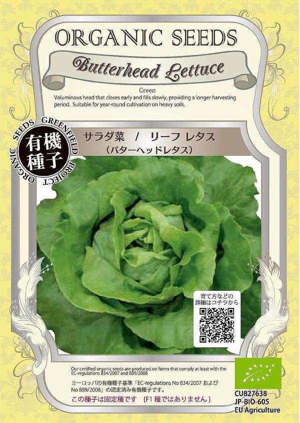 【有機種子】サラダ菜/リーフレタス(バターヘッドレタス)グリーンフィールドプロジェクトのタネ