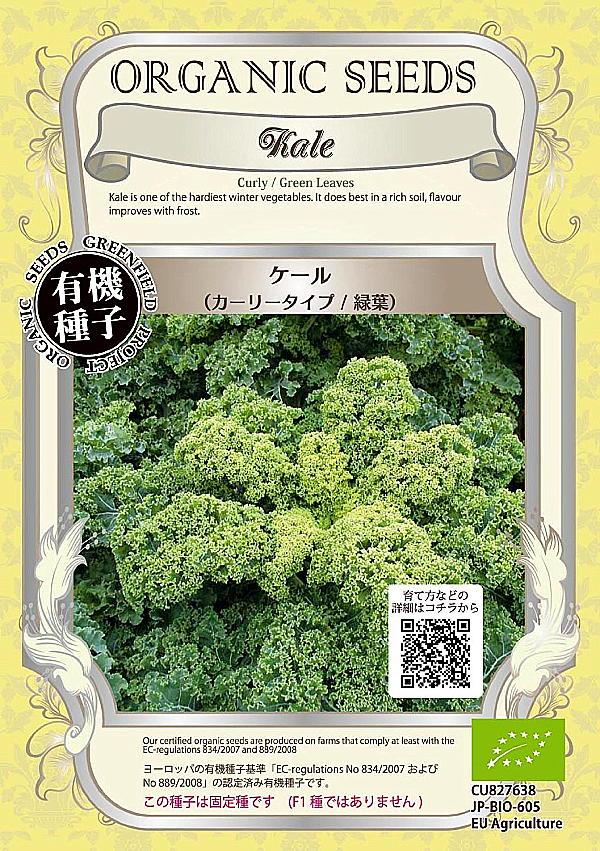 【有機種子】ケール(カーリータイプ/緑葉)グリーンフィールドプロジェクトのタネ