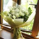 ≪送料込み≫ホワイト系のバラとカスミソウの花束