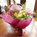 ラッピングが選べるふんわりグリーンのバラ花束