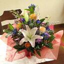 ≪送料&クール便代金込み≫ユリとリンドウの秋色アレンジメント(花かご)5,600円コース
