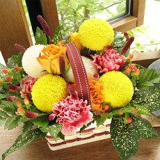 秋色ピンポンマムのバスケット・アレンジ(オレンジのバラ)