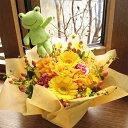 選べるぬいぐるみピック入り☆パステルカラー・アレンジメントオレンジ系(Mサイズ)