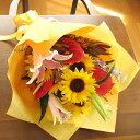 ≪送料&クール便代金込み≫ヒマワリ&ユリ&アンスリウムの花束★お届けは9月10日まで★ひまわり 誕生日 フラワーギフト 花 誕生祝い …