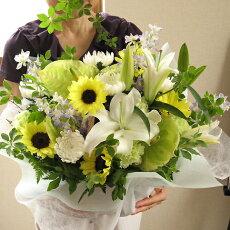 お供え供花お供え花フラワー花仏壇お墓参りフューネラル白キク菊ひまわりカーネーションキクフラワーギフト