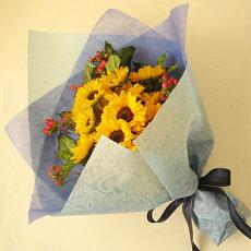 ひまわり誕生日フラワーギフト花誕生祝いフラワーアンセリウムギフトお中元≪送料無料!≫ナチュラル&シンプルなヒマワリブーケ(花束)ヒマワリ20本タイプ
