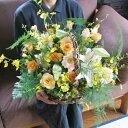 ふんわりやさしいお花を贈りたい!バラとユリのナチュラル花かご送料無料です。