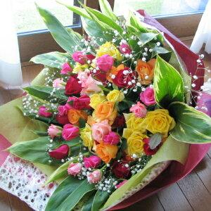 バラ 花束 還暦祝い プレゼント 誕生日 ギフト 還暦 お誕生日祝い お祝い 赤バラ 花束 フラワーギフト≪送料&クール便代金込み≫豪華なバラ50本の花束【送料無料】【楽ギフ_メッセ入力】