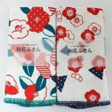 花ふきん(椿と梅)