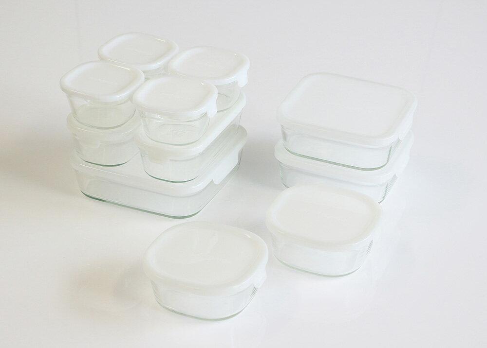 【送料無料】【28%OFF】iwaki イワキ 保存容器 ホワイト パック&レンジ デラックスセット 蓋色:ホワイト(乳白色) 安い耐熱ガラス 保存 おしゃれ 常備菜 作り置き 白 保存容器 ガラス