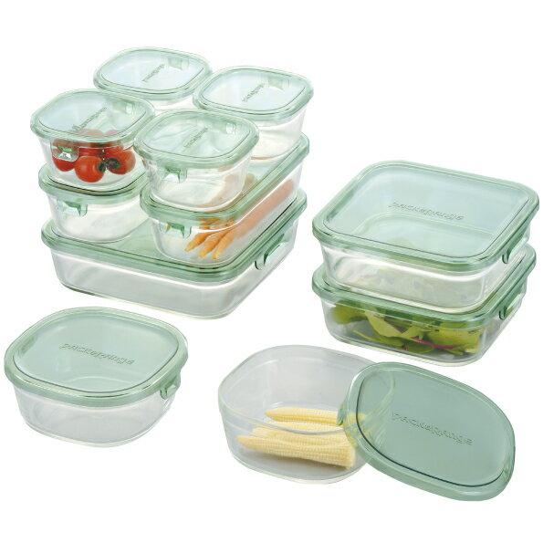 【送料無料】【40%OFF】iwaki イワキ 保存容器 11点セット パック&レンジ デラックスセット グリーン 耐熱ガラス ガラス 常備菜 作り置き 安い