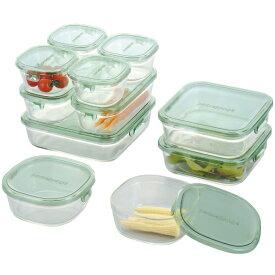 【送料無料】【44%OFF】iwaki イワキ 保存容器 11点セット パック&レンジ デラックスセット グリーン 耐熱ガラス ガラス 常備菜 作り置き 安い