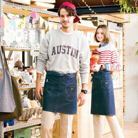 ショートエプロン アイトス AZ64382 Wrangler ラングラー カフェ かわいい おしゃれ デニム 腰下 短い 男女兼用