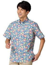 アロハシャツ 花柄 ボンマックス FB4540U 男女兼用 ホワイト ネイビー 飲食 ホテル