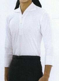 シンプルな七分袖の襟付きニットシャツ セブンユニフォーム
