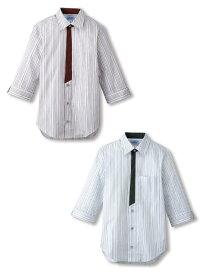 デザインシャツ ストライプ 七分袖 男女兼用 レディス メンズ エンジ グレー SS-4L ホール 接客 業務用 飲食店 仕事用 ユニフォーム フードサービス FOODSERVICE サンペックスイスト BT-3121