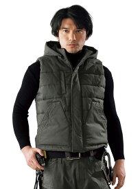 防寒ベスト ジーベック 213 綿100 火に強い かっこいい おしゃれ 現場服 カジュアル 暖かい 男 メンズ 黒 ベージュ グリーン フード付き