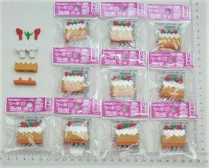 四角ケーキ ブラウン消しゴム(10個入)【まとめ買い 消しゴム 日本製 プレゼント ご褒美 おまけ 景品 おもちゃ こども 文具 ばらまき】