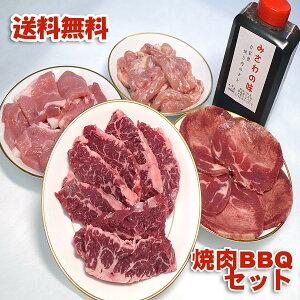 バーベキューセット 焼肉 牛ハラミ 牛タン 豚肉 鳥肉 1.4kg 冷凍便発送 自家製タレ付属 焼肉セット (焼き肉 バーベキュー BBQ )