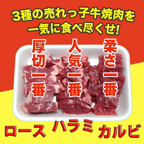 焼肉セット 穀物牛 焼肉 三種盛り合わせ (かいのみカルビ・ハラミ・上ロース) 1.5kg(500g×3パック) バーベキューセット 自家製タレ付属 BBQセット