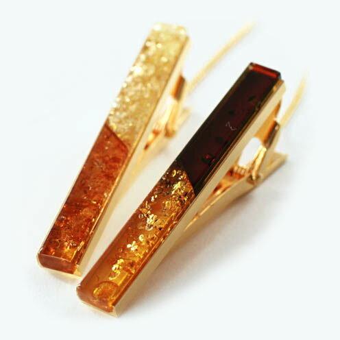 琥珀タイピン バイカラーゴールド(シャンパン・黄&コニャック・茶)天然琥珀使用 メンズお洒落